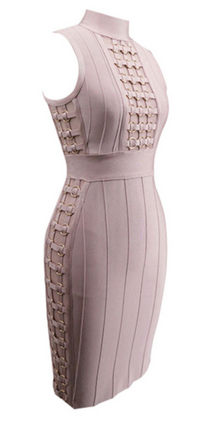 'Marschia' Linked Bandage Dress - Rose