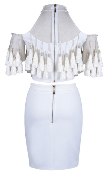 'Macina' Beaded Tassel Set - White - Bleu Luxury