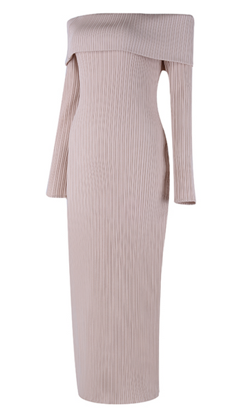 'Marlena' Off Shoulder Knit Midi Dress - Nude