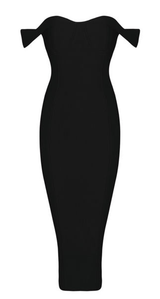 'Alma' Off Shoulder Bandage Dress - Black - Bleu Luxury