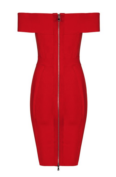 'Cassida' Deep V Chain Mini Dress - Red - Bleu Luxury