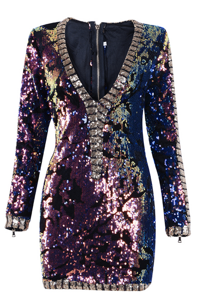 'Karisse' Deep V Sequined Mini Dress - Multi - Bleu Luxury