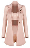 """STELLA"" Satin Silk Blazer Set - Rose Gold - Bleu Luxury"