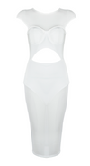 'Hensley' Cutout Mesh Midi Dress - White - Bleu Luxury