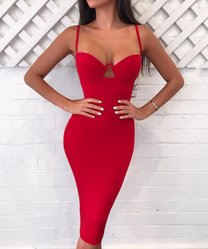 'Tomlin' Bustier Bandage Dress - Red - Bleu Luxury