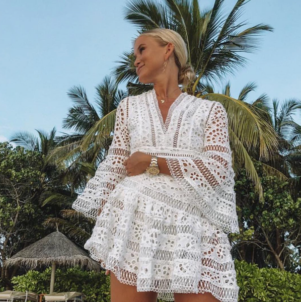 'Marlena' Floral Lace Mini Dress - White - Bleu Luxury
