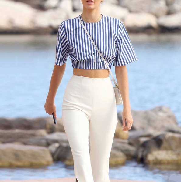 'Loren' Striped Top Pant Set - Navy & White - Bleu Luxury