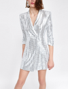 'Masha' Sequin Blazer Mini Dress - Silver - Bleu Luxury