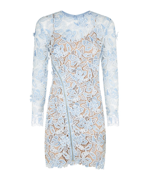 'Emina' Floral Lace Mini Dress - Light Blue
