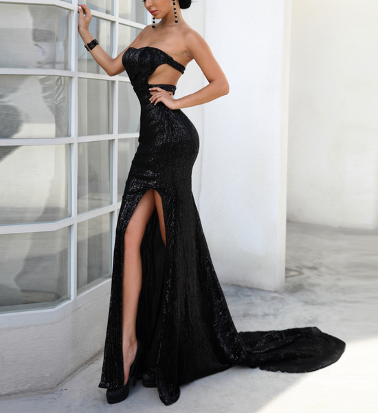 'Alessia' Strapless Sequin Maxi Dress - Black - Bleu Luxury