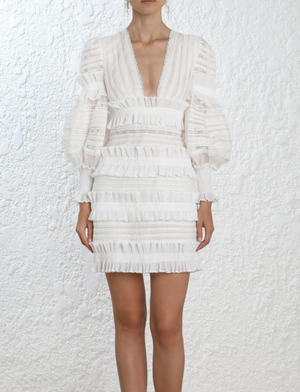 """BENELLE"" Low V Ruffled Dress - White - Bleu Luxury"