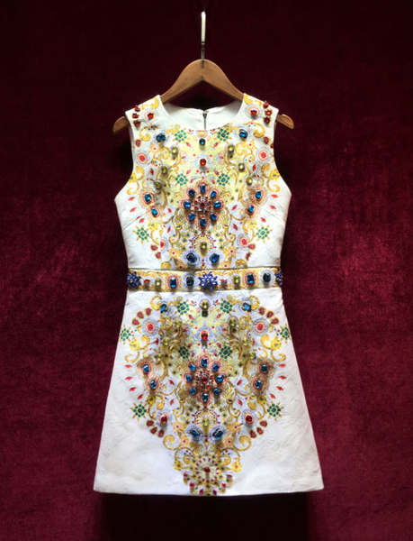'Royce' Jacquard Crystal Mini Dress - White *LIMITED SUPPLY* - Bleu Luxury