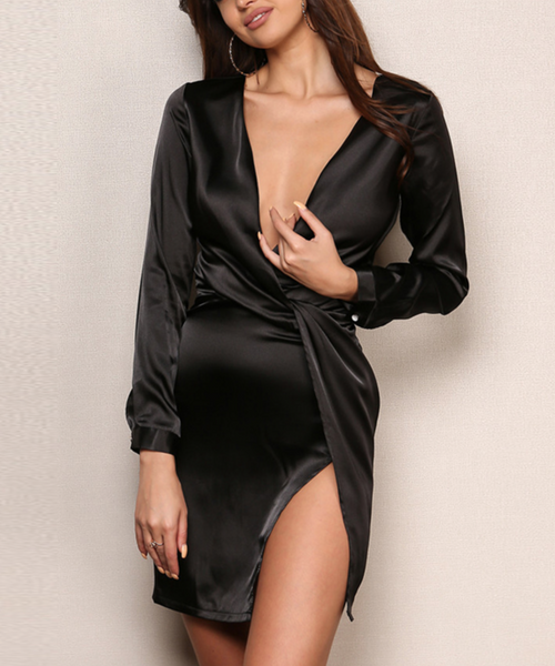 'Zaria' Silk Wrap Slit Dress - Black