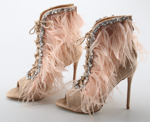 'Jenina' Peep Toe Ankle Booties - Nude - Bleu Luxury