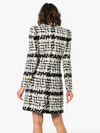 'Taisia' Mohair Wool Double Breasted Coat - Black and White - Bleu Luxury