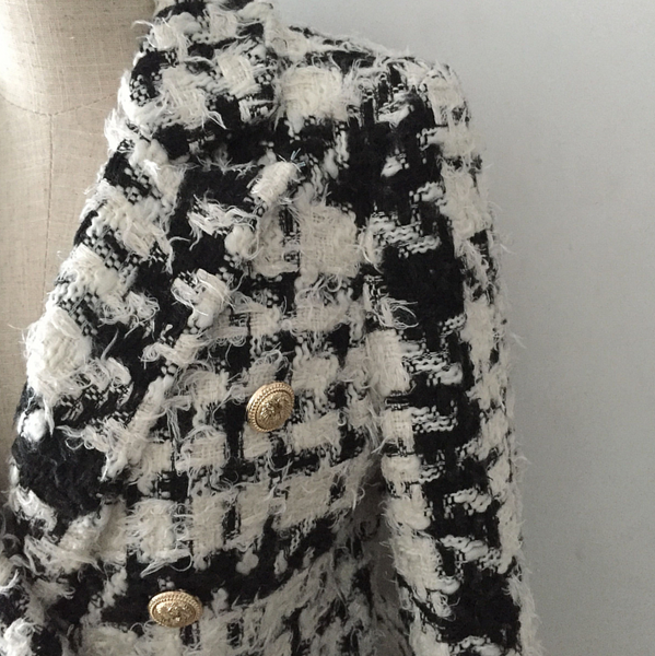 'Taisia' Mohair Wool Double Breasted Coat - Black and White