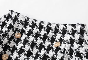"""KHAIR"" Houndstooth Button Mini Skirt - Black and White - Bleu Luxury"