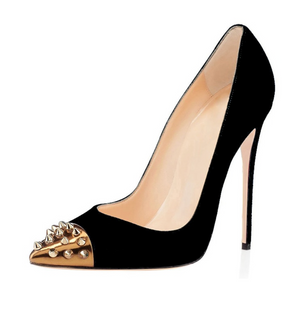 'Giada' Studded Suede Stiletto - Black - Bleu Luxury