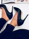 'Ava' Classic Smooth Leather Stiletto Heels - Black - Bleu Luxury