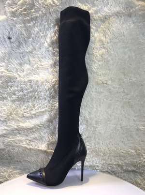 'Ariella' Studded Stretchy Thigh High Boots - Black - Bleu Luxury