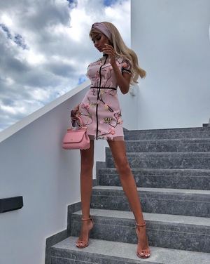 """ANN-MARIE"" Floral Mesh Mini Dress - Pink - Bleu Luxury"