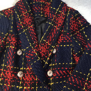 """SABINA"" Plaid Tweed Buttoned Blazer Jacket - Red - Bleu Luxury"