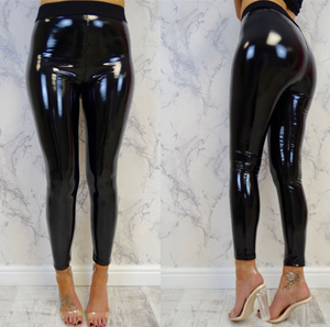 'Mia' Glossy Patent Vinyl Leggings - Black - Bleu Luxury