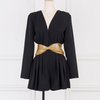 """BALBINA"" Deep V Mesh Belt Playsuit - Black - Bleu Luxury"