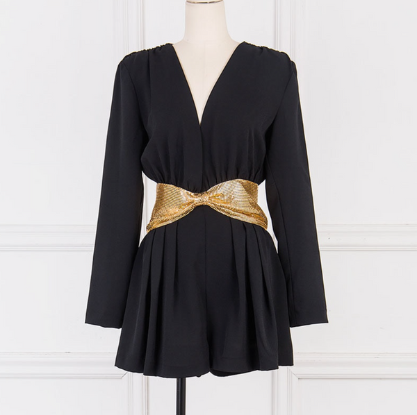 'Balbina' Deep V Mesh Belt Playsuit - Black - Bleu Luxury