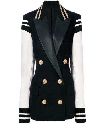 """SEVILLA"" High Street Blazer Jacket with Leather Sleeves- Classic Black & White - Bleu Luxury"