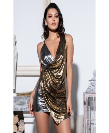 """SIBYLLA"" Deep V-Neck Classic - Silver Golden - Bleu Luxury"
