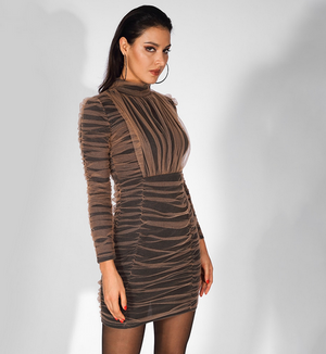 'FILIPA' Nude Net Pleated Long Sleeve Body Contouring Dress - Black - Bleu Luxury