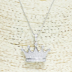 SILVER CUBIC ZIRCONIA CROWN NECKLACE