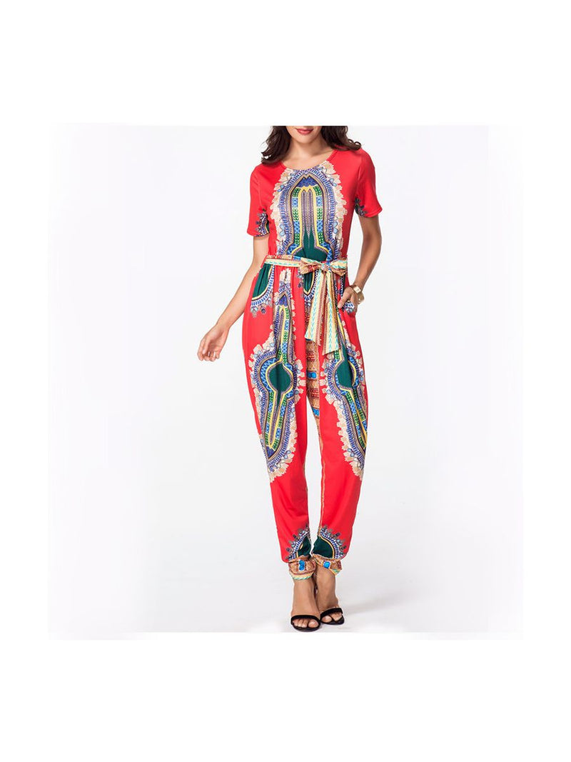 Dashiki Jumpsuit Red