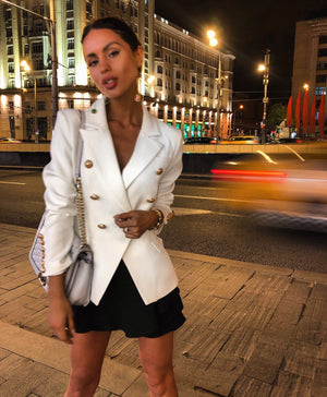 'Emilee' Buttoned Blazer Jacket - White - Bleu Luxury