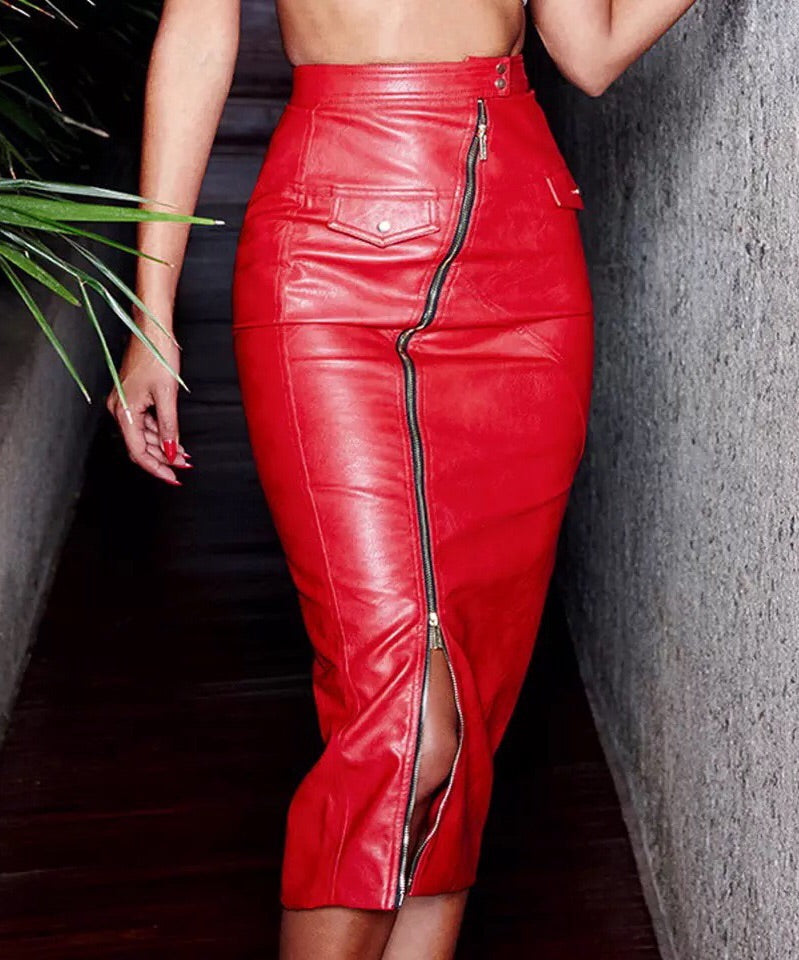 """HARLOW"" Leather Zipper Midi Skirt - Red"