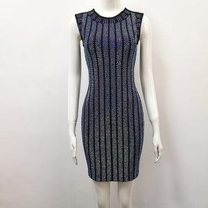 'Paloma' Crystal Bandage Dress - Black - Bleu Luxury