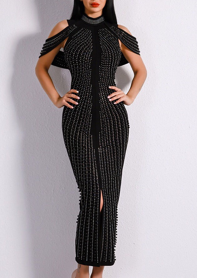 """TAMIKO"" Beaded Bandage Dress - Black and White"