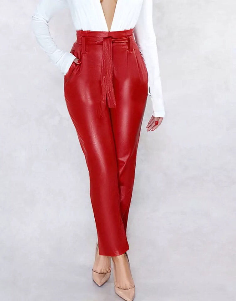 """BELLATRIX"" High Waist Belted Faux Leather Pants - Bleu Luxury"