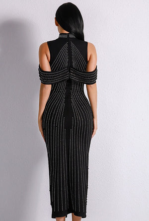 """TAMIKO"" Beaded Bandage Dress - Black and White - Bleu Luxury"