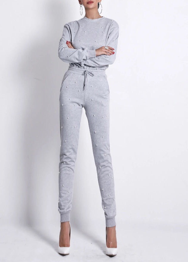 """KIKI"" Pearl Sweat Suit Pant Set - Gray"