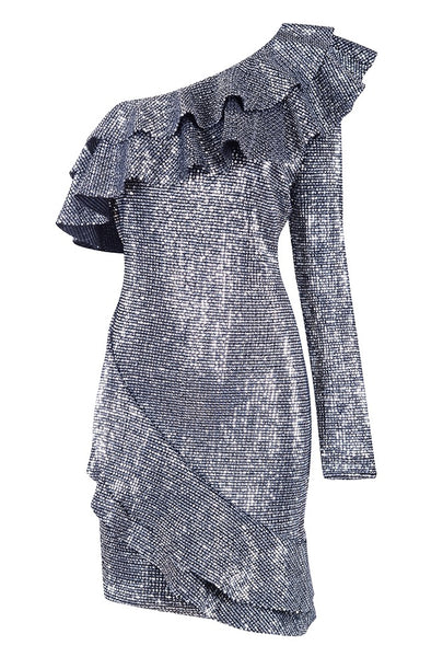 'Tatrina' Ruffled Mini Dress - Silver - Bleu Luxury