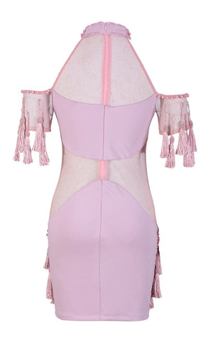 'Emma' Beaded Tassel Dress - Pink - Bleu Luxury