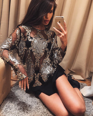 """VARVARA"" Sheer Mesh Sequin Blouse - Black *LIMITED SUPPLY* - Bleu Luxury"