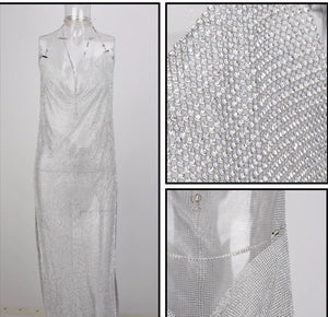 """VERENA"" Crystal Mesh Maxi Dress - Silver - Bleu Luxury"