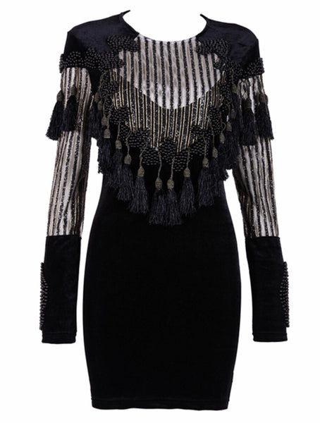 'Alecta' Beaded Tassel Dress - Black