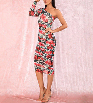 """MEADOW"" Floral One Shoulder Dress - Red"