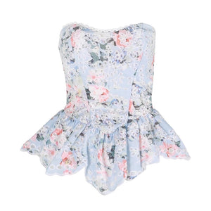 """ABBY"" Flower Peplum Top- Blue or White - Bleu Luxury"
