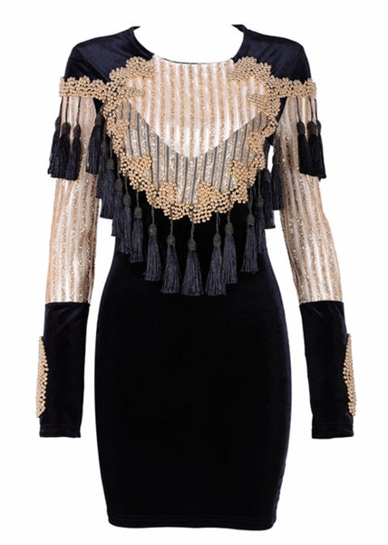 'Alecta' Beaded Tassel Dress - Gold