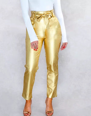 """BELLATRIX"" High Waist Belted Faux Leather Pants"